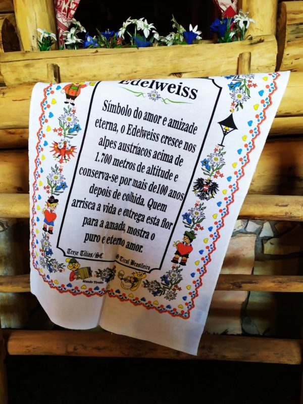 Pano de prato Edelweiss 1 Mundo Tirolês - Artigos Típicos Austríacos e Alemães