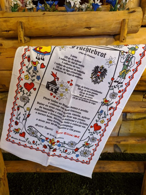 Pano de prato pão de frutas secas 1 Mundo Tirolês - Artigos Típicos Austríacos e Alemães